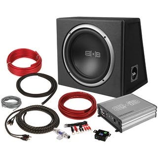 """Belva 600 Watt Bass Package Single 12"""" Sub In Ported Box Monoblock Amp & Amp Kit