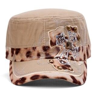 TopHeadwear Animal Print Cross Distressed Cadet Cap