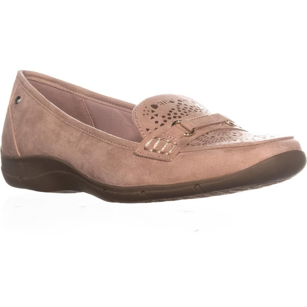 KS35 Jazyy Laser Cut Square Toe Loafers, Dusty Rose