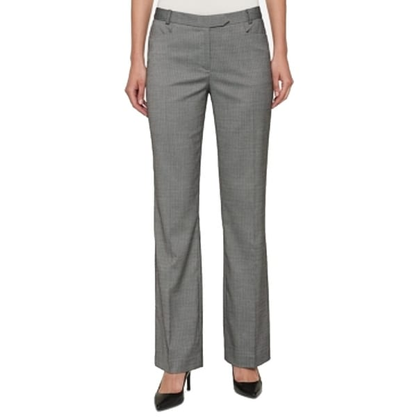 Tommy Hilfiger Womens Pinstriped Flat-Front Dress Pants