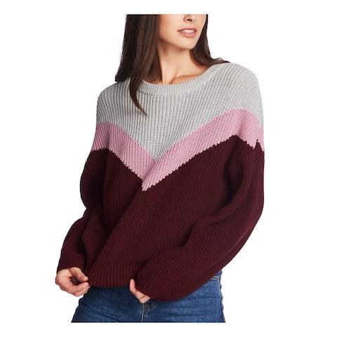 1. STATE Womens Burgundy Color Block Raglan Sweater Size L
