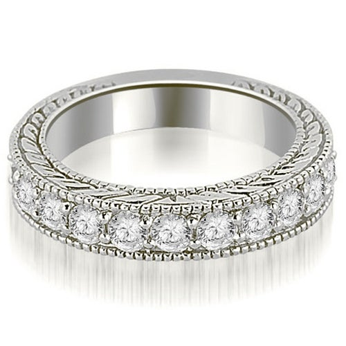 1.10 cttw. 14K White Gold Antique Round Cut Diamond Wedding Band