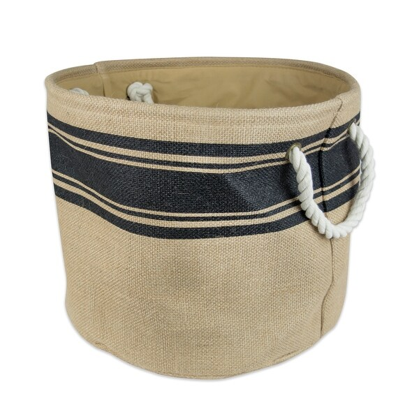 """16"""" Brown and Black Border Pattern Rounded Large Bin with Rope Handles - N/A"""