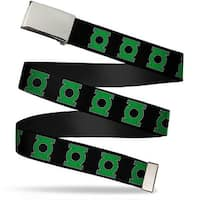 "Blank Chrome 1.0"" Buckle Green Lantern Logo Black Green Webbing Web Belt 1.0"" Wide - S"