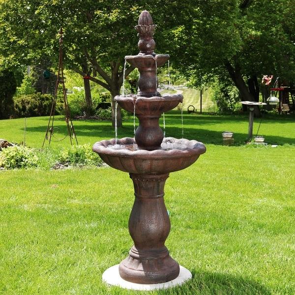Sunnydaze Delicate Pillar 3 Tier Garden Water Fountain 56 Inch Tall