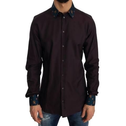 Purple Cotton GOLD Slim Men's Shirt - 40