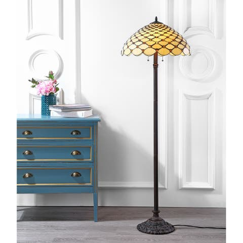 """Lee Tiffany-Style 62"""" LED Floor Lamp, Bronze by JONATHAN Y - 62"""" H x 20"""" W x 20"""" D"""
