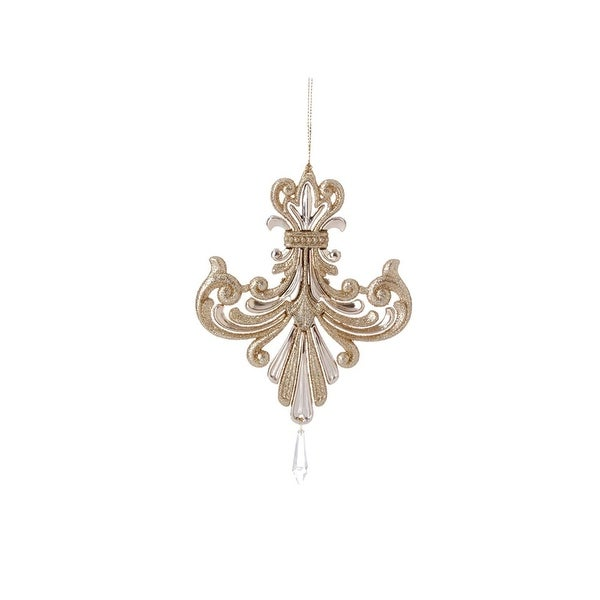 "6.5"" Gold Iridescent Glitter Inverted Fleur-de-Lis Christmas Ornament with Pendant"