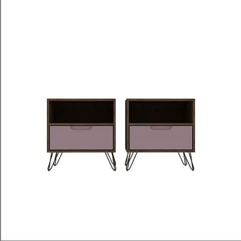 Manhattan Comfort Rockefeller 1-Drawer Nightstand (Set of 2)