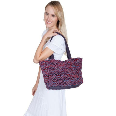 Scully Western Handbag Two Tone Knotted Macrame Tote Blue - 16 x 11 x 8