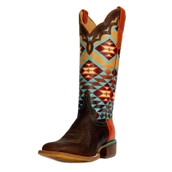 Cinch Western Boot Women Edge Jeanie Aztec Square Toe Chocolate