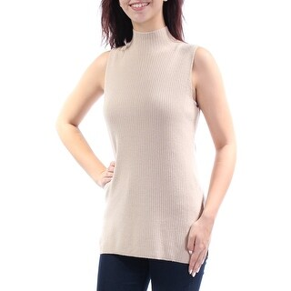 Womens Beige Sleeveless Turtle Neck Casual Top Size M