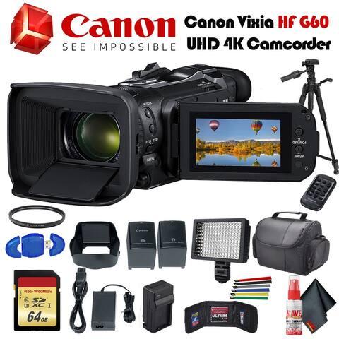 Canon Vixia HF G60 UHD 4K Camcorder (Black) (3670C002) Extra Battery,