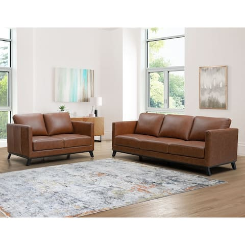 Abbyson Woodstock Mid Century Top Grain Leather Sofa and Loveseat