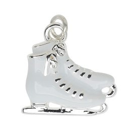 Silver Plated and Enameled Charm, Ice Skates (Right) 16x16x3.5mm, 1 Piece, White