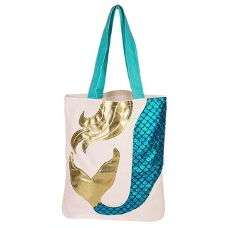 Mermaid Scales Megan Teal and Gold Appliqued Tote Bag 15X14 Inches