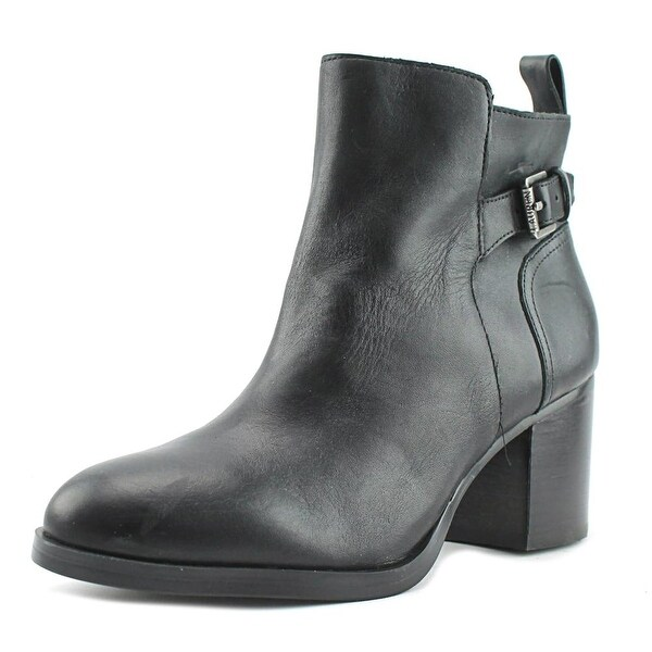 Lauren Ralph Lauren Genna Women Round Toe Leather Black Ankle Boot