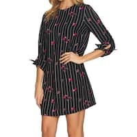 CeCe Black Women's Size 14 Striped Floral Print Shift Dress
