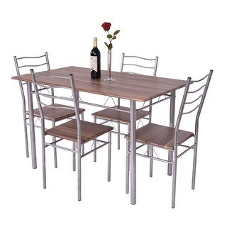 Merveilleux Costway 5 Piece Dining Table Set Wood Metal Kitchen Breakfast Furniture W/4  Chair Walnut