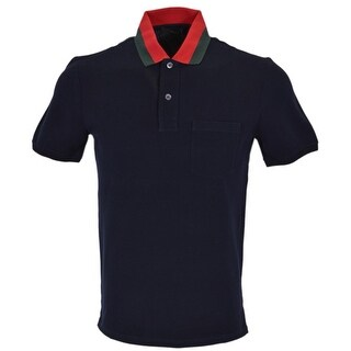 Gucci Men's 389031 Blue Cotton Red Green Collar SLIM FIT Polo Shirt L