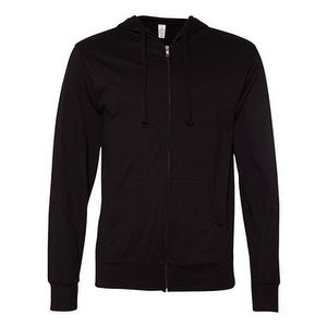 Independent Trading Co. Lightweight Jersey Hooded Full-Zip T-Shirt - Black - M