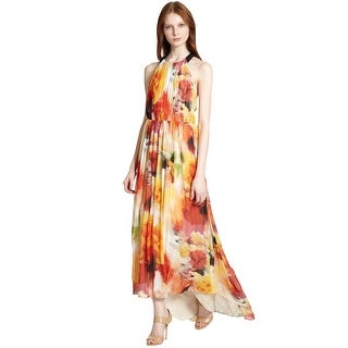 Alice & Olivia Ryan Open Back Floral Print High Low Maxi Gown Dress