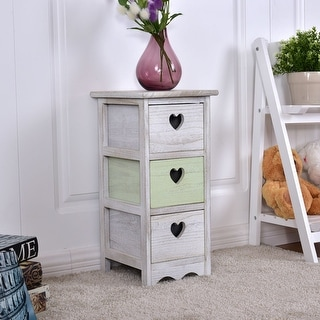Costway Wooden Bedside Table Nightstand Cabinet Furniture