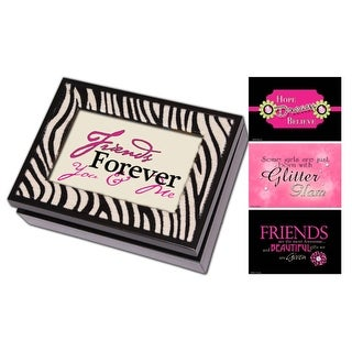 """8"""" Black and Faux Zebra """"I'm So Excited"""" Digital Music and Jewelry Box"""