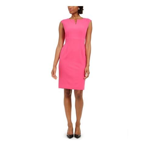 KASPER Womens Pink V Neck Knee Length Pencil Cocktail Dress Size 6