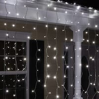 "Wintergreen Lighting 67288 6' Long Indoor Curtain LED 5mm Icicle Lights with 6"" Spacing and White Wire"