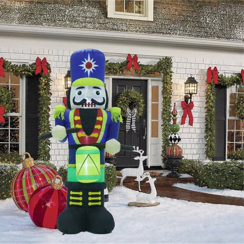 7Ft Nutcracker Dummer Inflatable with LED Lights