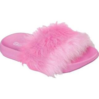 Skechers Girls' Fur Sunny Slides Sandal Hot Pink