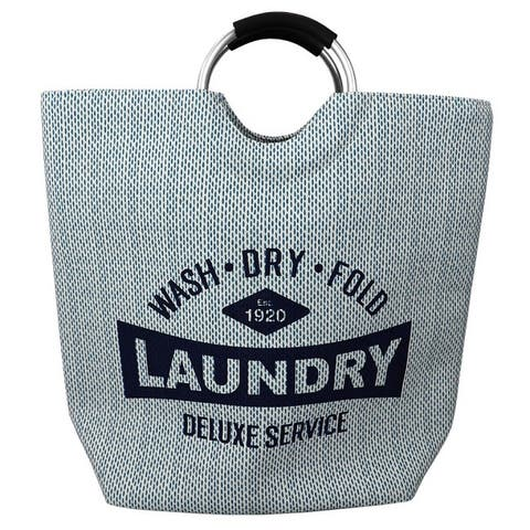 Deluxe Service Canvas Laundry Tote with Padded Aluminum Handles, Blue