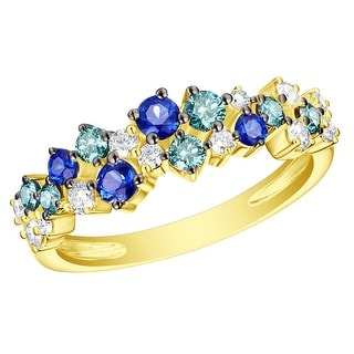 Prism Jewel 0 91CT Blue Sapphire With Blue White Diamond Half Eternity Ring