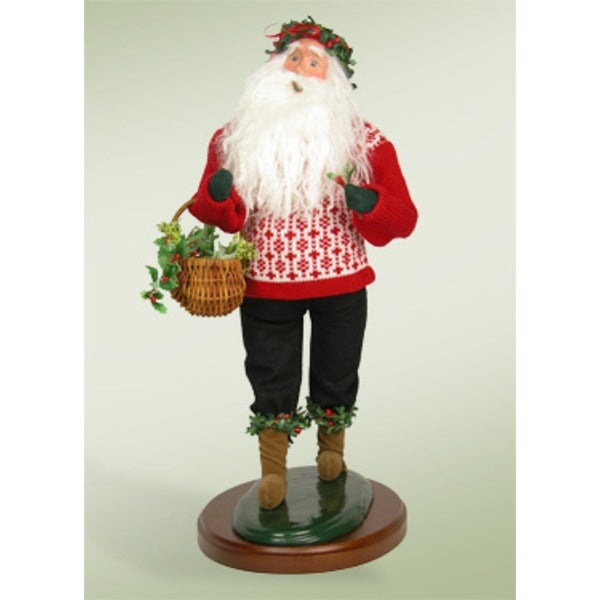 "19"" Collectible Handcrafted ""Deck the Halls"" Santa Claus Caroling Christmas Figure"