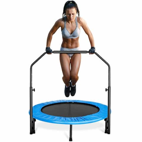 Gymax Mini Rebounder Trampoline With Adjustable Hand Rail Bouncing