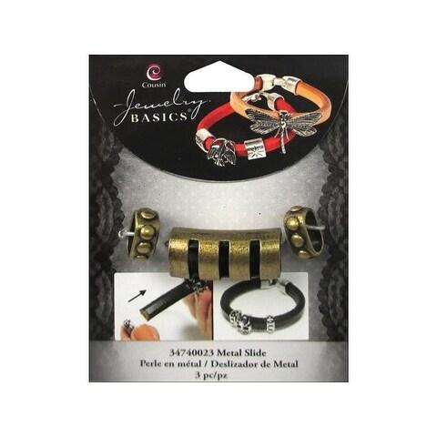 Cousin Slide Charm Metal Bar w/Cuts Gold 3pc