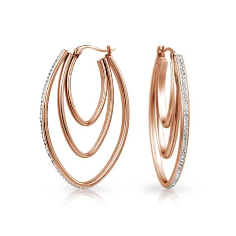 Large Oval Triple Hoop Earrings For Women Prom Party Pave Crystal Rose Gold Plated Stainless Steel 2 Inch