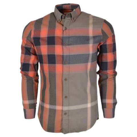 Burberry Brit Men's Fred Khaki Nova Check Cotton Long Sleeve Shirt