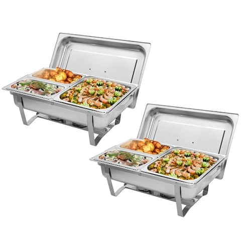 9L 1/2 Sets of Dishes Stainless Steel Rectangular Buffet Stove
