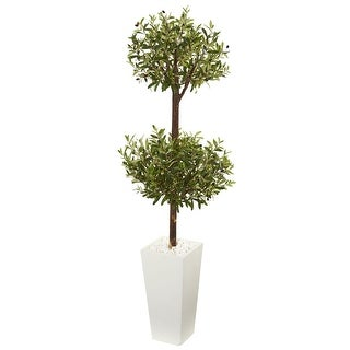 Nearly Natural 5.5' Olive Artificial Double Topiary Tree in White Tower Planter