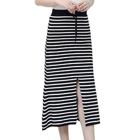 Women's Sexy High Elastic Waist Stripe Front Split Knitted Midi Skirt