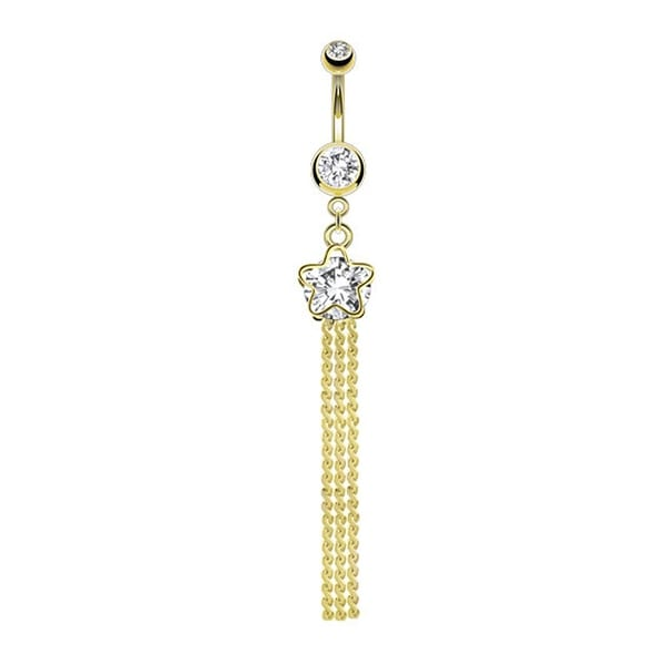 Star and Faceted Gem Dangle gold-plated Navel Belly Button Ring
