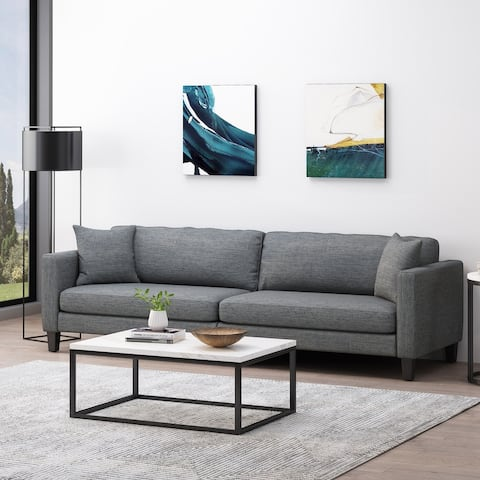Clemons Contemporary Fabric 4-seater Sofa with Accent Pillows by Christopher Knight Home