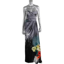 Adrianna Papell Womens Floral Print Pleated Evening Dress - 4