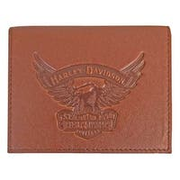 "Harley-Davidson Men's Eagle Emboss Leather Bifold Plus One Wallet EE9035L-SCOTCH - 4.5"" x 3.375"""