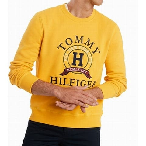 Tommy Hilfiger Mens Sweater Yellow Size XL Crewneck Embroidered Logo