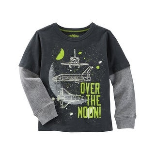 OshKosh B'gosh Baby Boys' Glow-In-The-Dark Layered-Look Space Tee, 9 Months - 9 Months