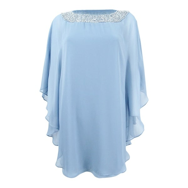 69cfb7cad633a Shop Xscape Women's Petite Beaded Chiffon Capelet Dress (6P, Blue) - Blue -  6P - On Sale - Free Shipping Today - Overstock - 27195722