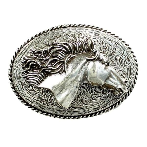 Nocona Western Belt Buckle Women Horse Flowing Mane Roped Silver - 2 3/4 x 3 1/2